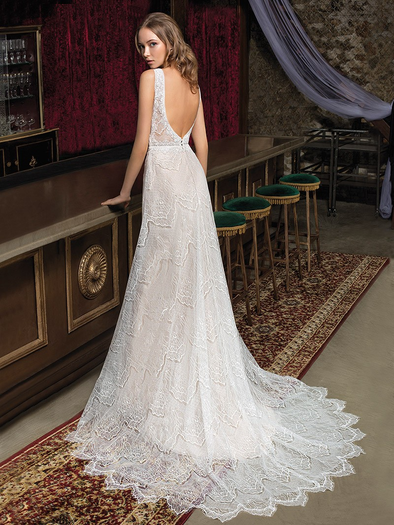 Luxe boho Lace wedding gown Janice with feminine V neckline